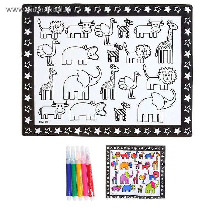 """Раскраска объемная """"Африканские животные"""" из пластика с 5 фломастерами"""