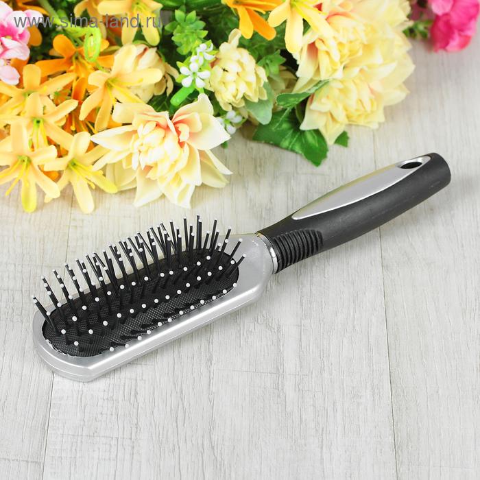 Расчёска массажная, прямоугольная, цвет серебряный/чёрный