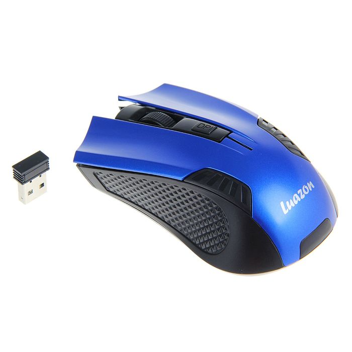 Мышь Luazon L-041, оптическая, беспроводная, 1200/2400/3200 dpi, до 10м, 2.4МГц, USB, синяя