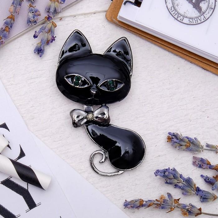 """Брошь """"Кошка-мур"""" цвет чёрный в сером металле"""