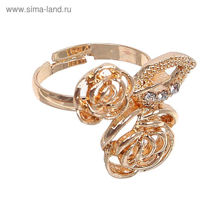 """Кольцо """"Цветы дуэт"""" цвет золото, безразмерное"""