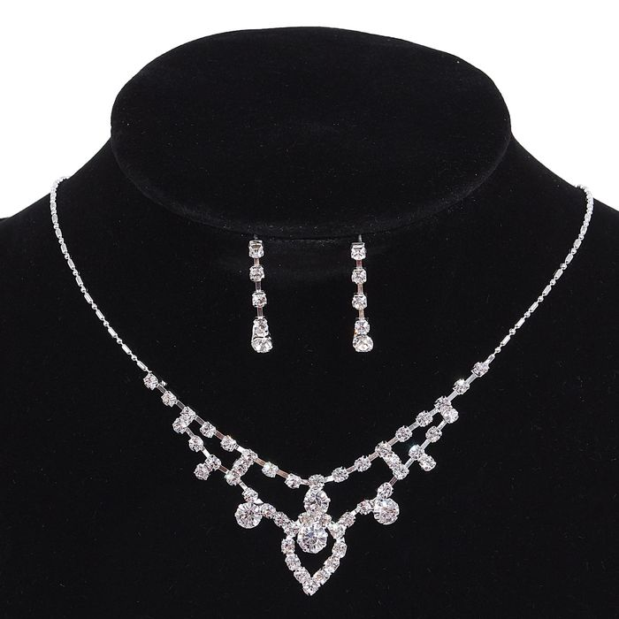 Набор 2 предмета: серьги, колье Wedding, цвет белый в серебре