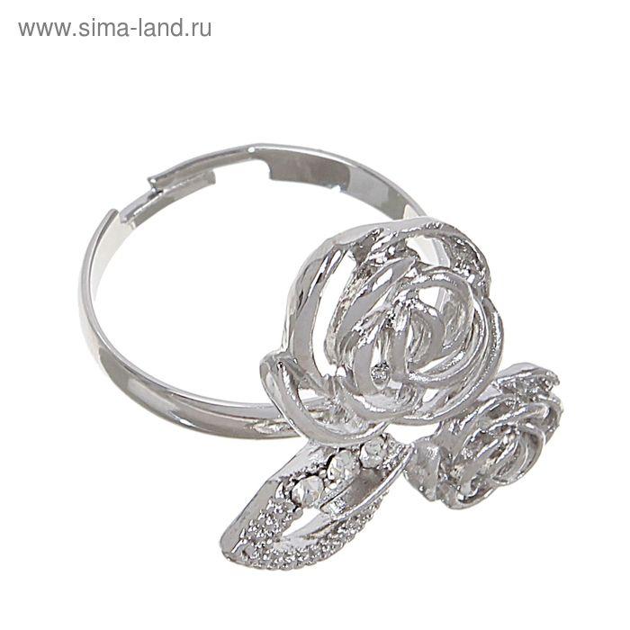 """Кольцо """"Цветы дуэт"""" цвет серебро, безразмерное"""