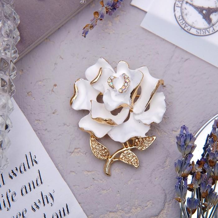 """Брошь """"Цветок"""" розочка, цвет белый в золоте"""