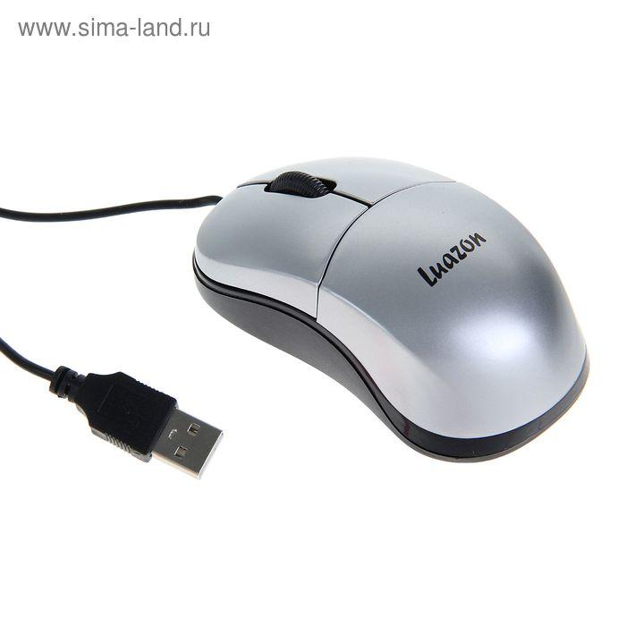Мышь Luazon L-052, оптическая, проводная, 1200 dpi, провод 1.5 м, USB, серебристая