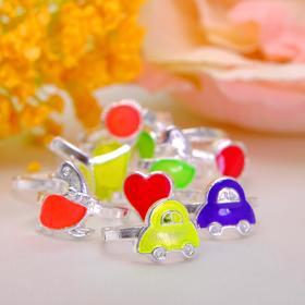 Кольцо детское 'Выбражулька' неоновое ассорти, форма МИКС, цвет МИКС Ош