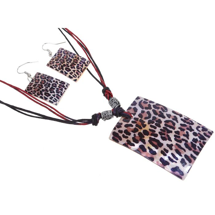 "Гарнитур 2 предмета: серьги, кулон ""Ракушка"" прямоугольник, цвет леопард, 45см"
