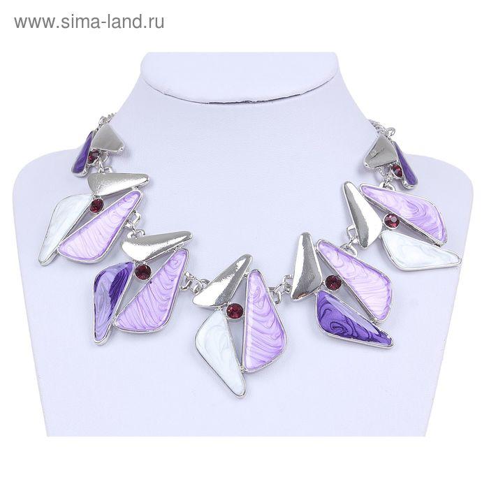 """Колье """"Треугольники"""" симметричные, цвет фиолетово-сиреневый в серебре"""