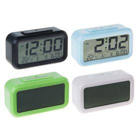 Часы-будильник LC105, дата, подсветка, календарь, температура, 3 ААА (не в компл.), МИКС
