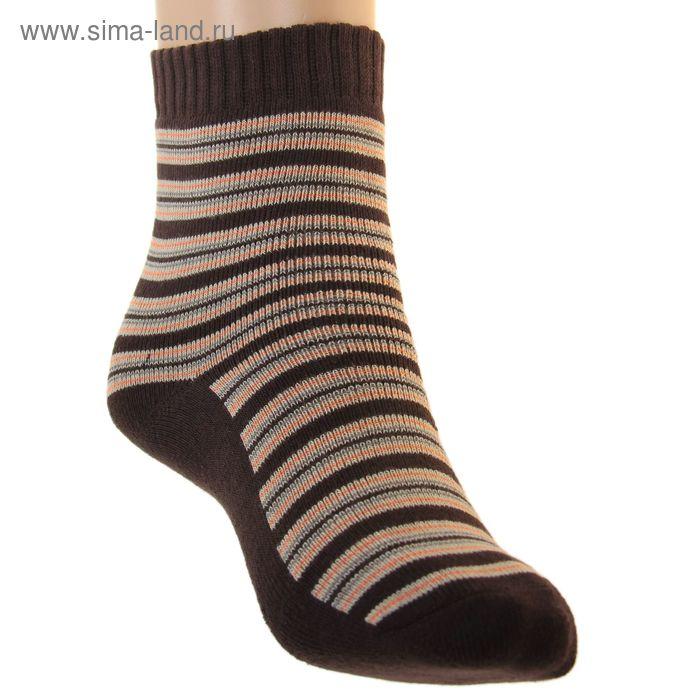 Носки детские плюшевые ПЛС47, цвет темно-коричневый, р-р 18-20