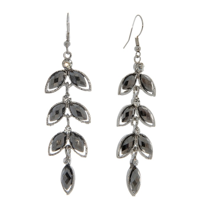 """Earrings dangling with crystals """"Amaretto"""" branch, color gray silver"""