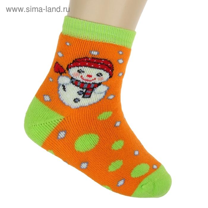 Носки детские плюшевые ПЛС47, цвет оранжевый, р-р 14-16
