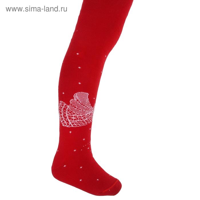 Колготки детские плюшевые ПФС70-2474, цвет красный, рост 104-110 см