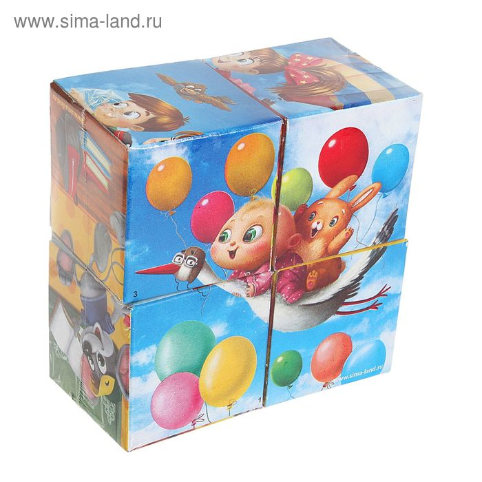 """Кубики """"Веселые картинки"""", 4 штуки (картон)"""