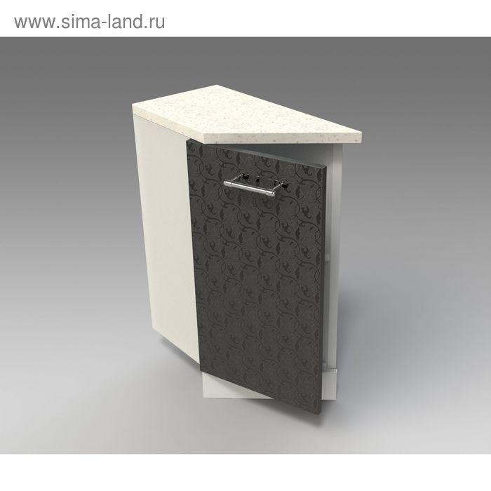 Шкаф напольный  скошенный левый 850*300*600 Черные цветы