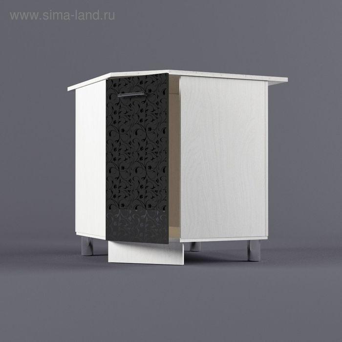 Шкаф напольный угловой 850*800*800*600 Черные цветы