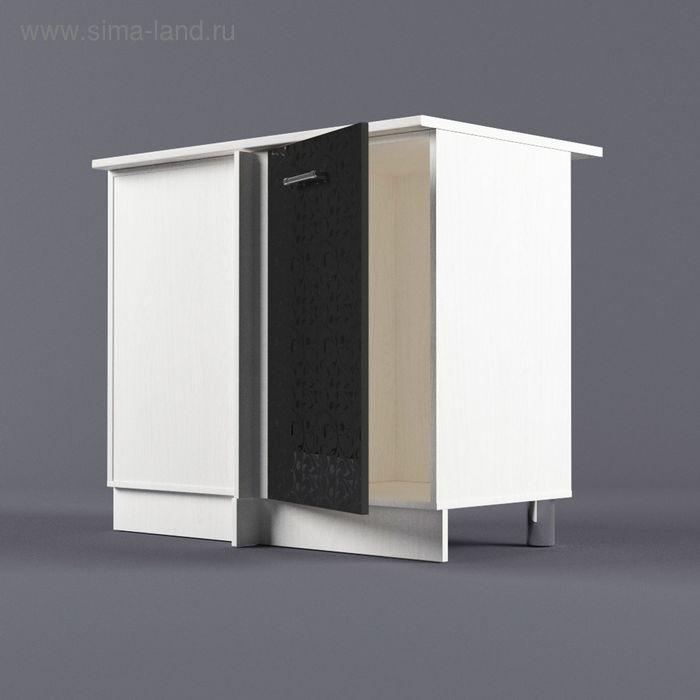 Шкаф напольный угловой левый 850*1000*600 Черные цветы