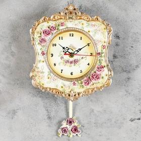 """Часы настенные, серия: Маятник, """"Розы и ажур"""", бронзовые, 21х24 см"""