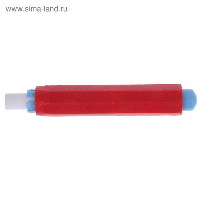 Мел для рисования, цвет белый + держатель для мела цвет красный