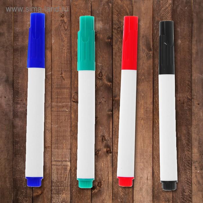 Маркеры на водной основе 4 шт., цвет чёрный, зелёный, синий, красный