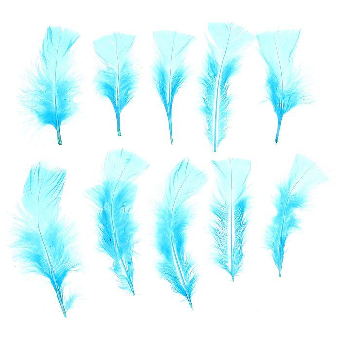 Набор перьев для декора 10 шт, размер 1 шт 10* 4 цвет голубой