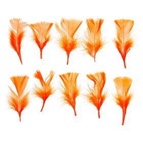 Набор перьев для декора 10 шт., размер 1 шт: 10 × 4 см, цвет оранжевый