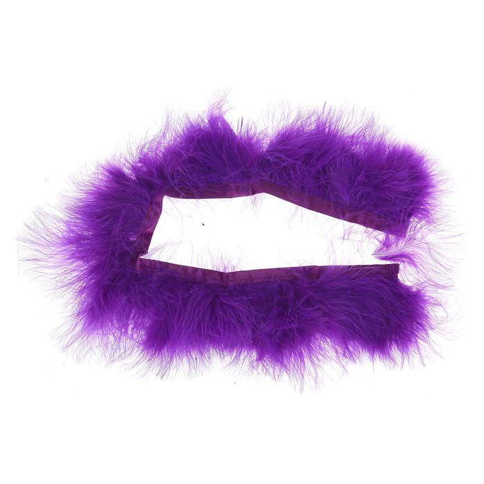 Лента перьев для декора, размер 1 шт 50*6 цвет фиолетовый
