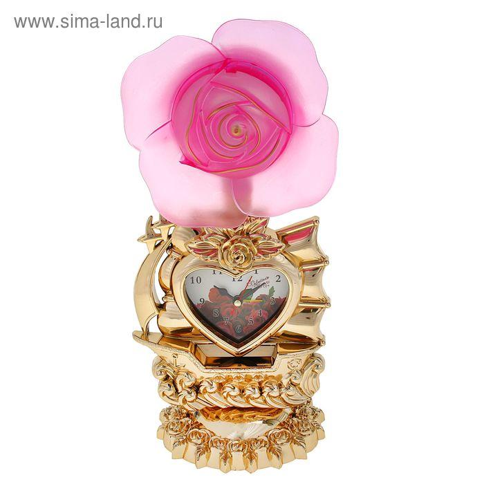 """Часы-светильник """"Красная/розовая  роза и корабль"""", циферблат в виде сердечка, 34х16х11 см"""