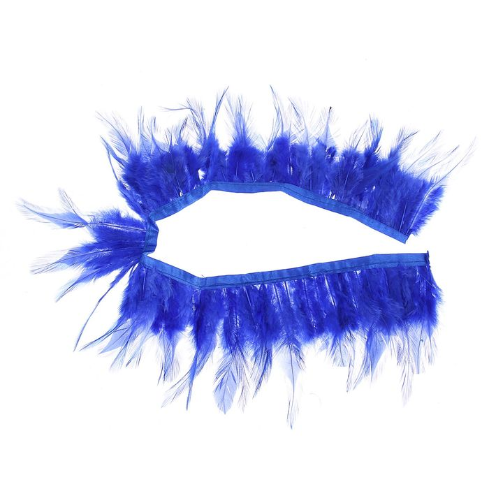 Лента перьев для декора, размер 1 шт 50*9 цвет синий
