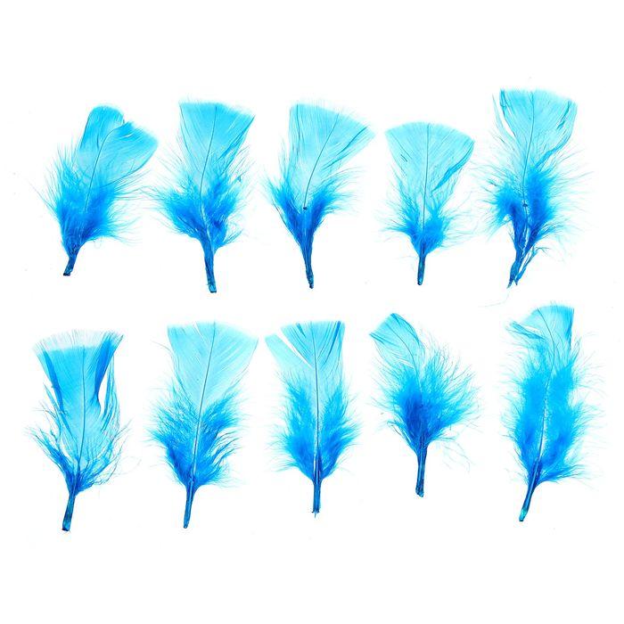 Набор перьев для декора 10 шт, размер 1 шт 10*4 цвет насыщенно голубой
