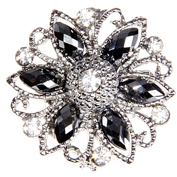 """Брошь """"Сияние"""" ажурный цветок мини, цвет чёрный в серебре"""