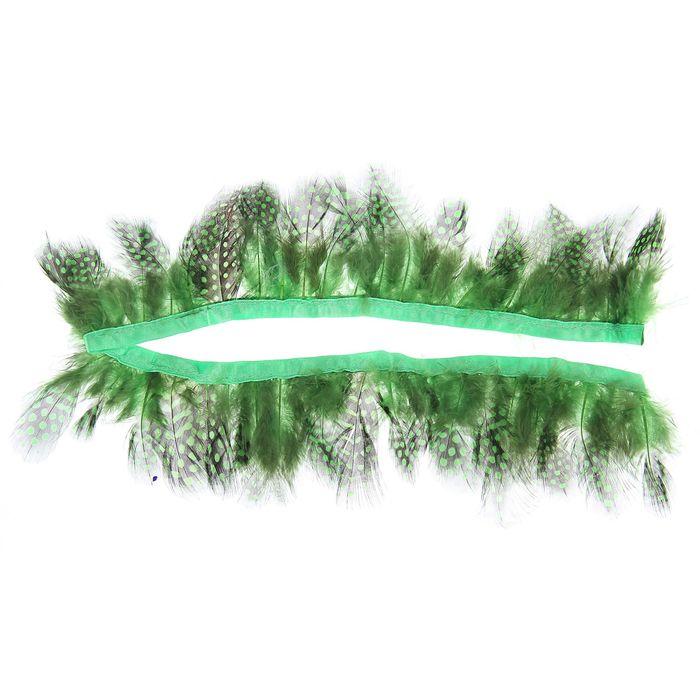 Лента перьев для декора, размер 1 шт 50*6 цвет зелено-черный