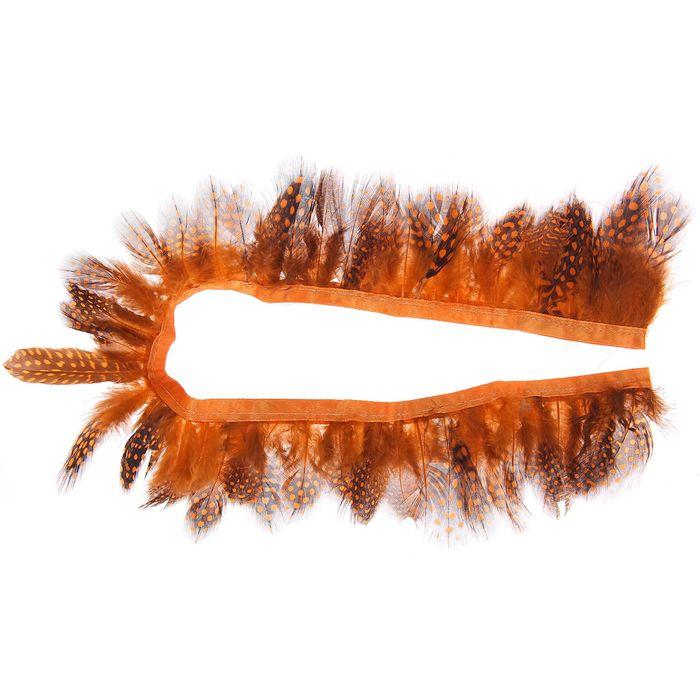 Лента перьев для декора, размер 1 шт 50*6 цвет оранжево-черный