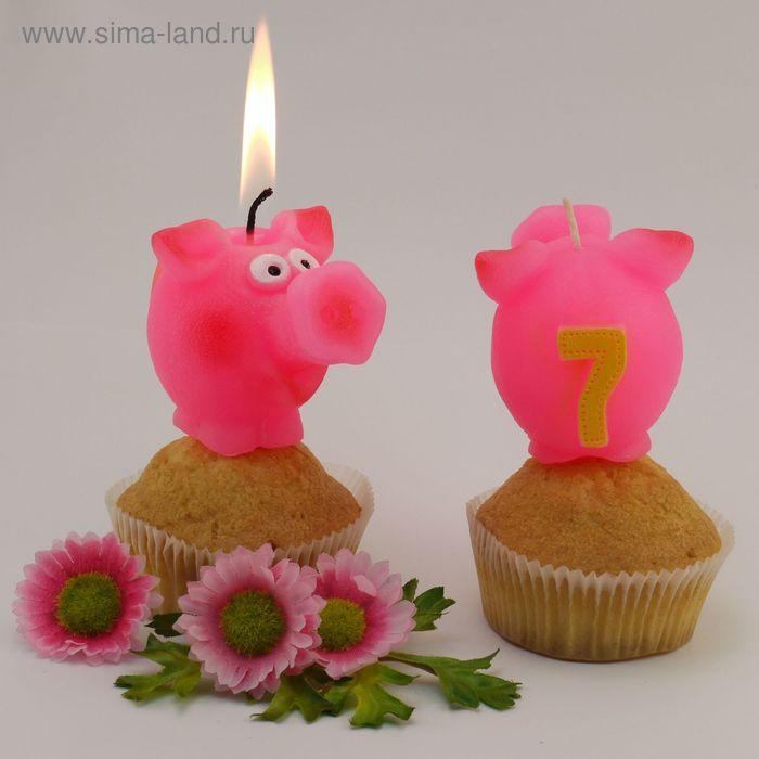 """Свеча для торта  цифра """"Весёлый поросёнок"""" розовая """"7"""""""