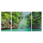"""Модульная картина на стекле """"Горы и море"""", 2 — 25×50, 1 — 50×50 см, 100×50 см"""