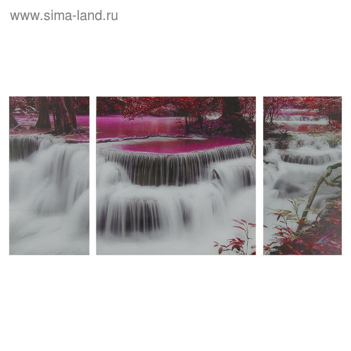 """Модульная картина на стекле """"Неоновая река"""""""