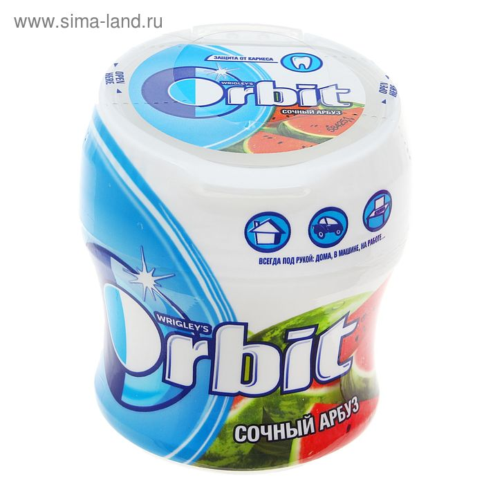 """Жевательная резинка  Orbit """"Арбуз"""", драже в банке, 54.4 г"""
