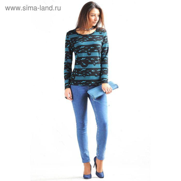 Блузка женская 4179 С+, размер 54рост 164 см,цвет черно-голубой