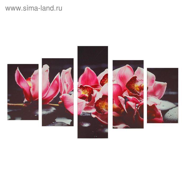 """Модульная картина на подрамнике """"Орхидея на камне """", 2 — 46×25, 2 — 55×26, 1 — 80×25, 127×80 см"""