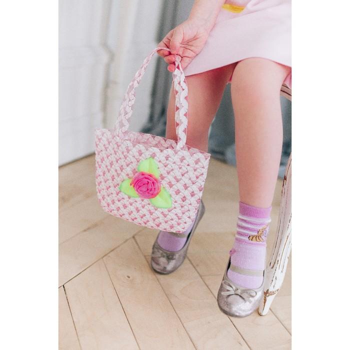 Набор сумочка и шляпка с цветочком, цвет светло-розовый, р-р 50-52 см, 3-5 лет