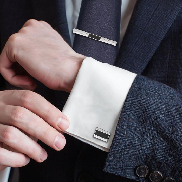 """Набор мужской """"Запонки + Зажим для галстука"""", прямоугольник серебристый с чёрной эмалью"""