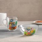 """Детский набор посуды """"Азбука"""", 2 предмета: кружка 250 мл, салатник 13 см, рисунок МИКС"""