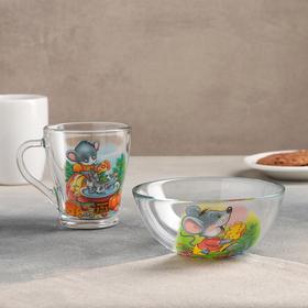 Детский набор посуды 'Азбука', 2 предмета: кружка 250 мл, салатник d=13 см, рисунок МИКС Ош