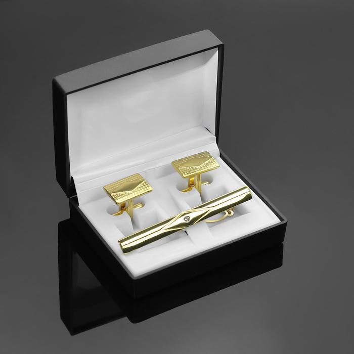 """Набор мужской """"Запонки + Зажим (6 см) для галстука"""" прямоугольник с ромбом, цвет золотой - фото 7468347"""