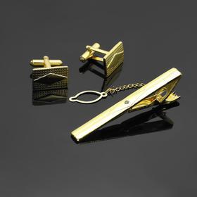 """Набор мужской """"Запонки + Зажим (6 см) для галстука"""" прямоугольник с ромбом, цвет золотой - фото 7468348"""