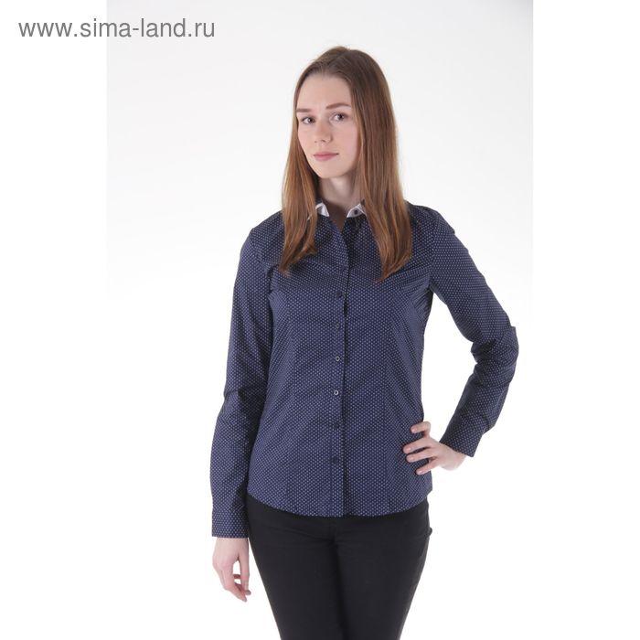 Блузка женская длинный рукав 15115, размер 46, рост 170 см, цвет темно-синий/горох