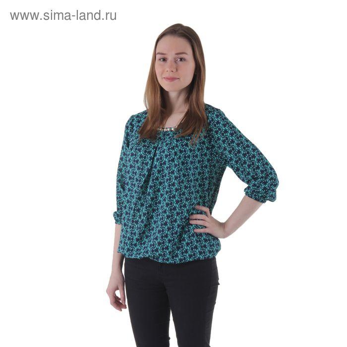 Блузка женская рукав 3/4 15101-7, размер 48, рост 170 см, цвет ментол