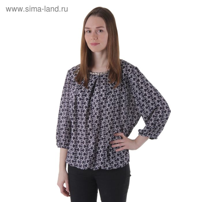 Блузка женская рукав 3/4 15101L-7 С+, размер 54, рост 170 см, цвет темно синий