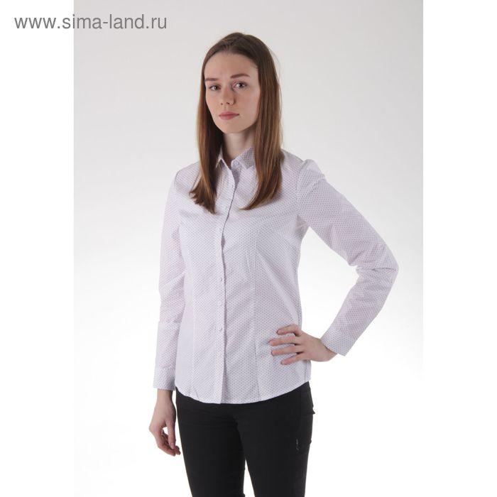 Блузка женская с длинным рукавом, размер 50, рост 170 см, цвет белый/горох (арт. 15115 С+)