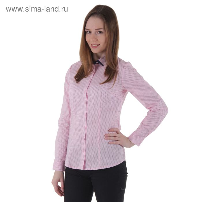Блузка женская длинный рукав 15115, размер 44, рост 170 см, цвет розовый/горох